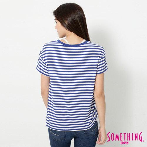 【9折優惠↘】SOMETHING 剪接口袋 基本條紋T恤-女款 藍色 1