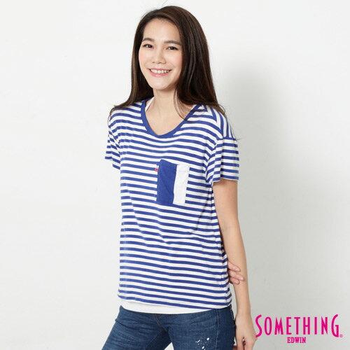 【9折優惠↘】SOMETHING 剪接口袋 基本條紋T恤-女款 藍色 2