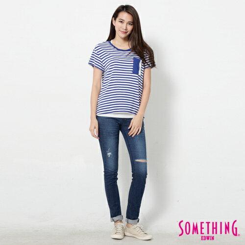【9折優惠↘】SOMETHING 剪接口袋 基本條紋T恤-女款 藍色 3