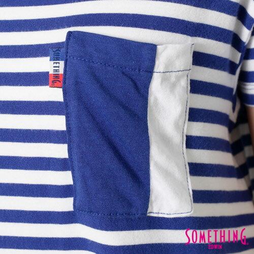 【9折優惠↘】SOMETHING 剪接口袋 基本條紋T恤-女款 藍色 4