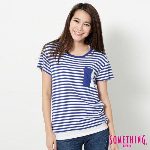 【9折優惠↘】SOMETHING 剪接口袋 基本條紋T恤-女款 藍色 0