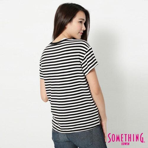 【週年慶。8折優惠↘】SOMETHING 剪接口袋 基本條紋T恤-女款 黑色 1