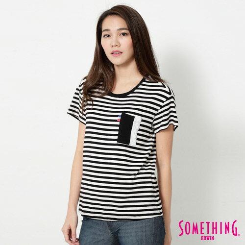 【週年慶。8折優惠↘】SOMETHING 剪接口袋 基本條紋T恤-女款 黑色 2