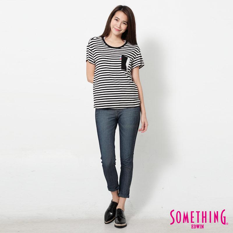 【週年慶。8折優惠↘】SOMETHING 剪接口袋 基本條紋T恤-女款 黑色 3