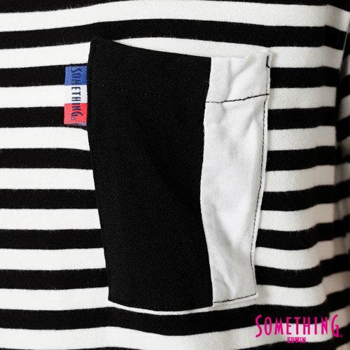 【週年慶。8折優惠↘】SOMETHING 剪接口袋 基本條紋T恤-女款 黑色 4