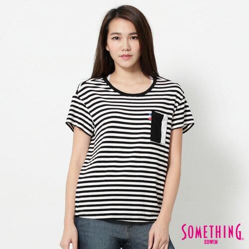 【週年慶。8折優惠↘】SOMETHING 剪接口袋 基本條紋T恤-女款 黑色 0