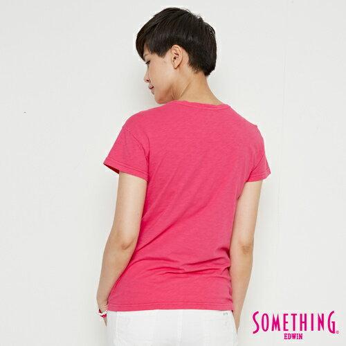 【週年慶。8折優惠↘】SOMETHING 布蕾絲釘珠 短袖T恤-女款 桃紅色 1
