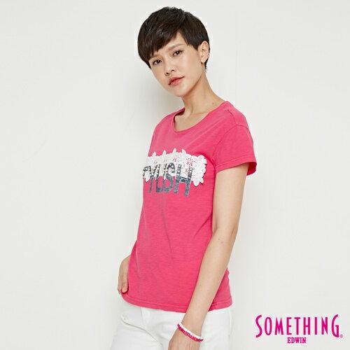 【週年慶。8折優惠↘】SOMETHING 布蕾絲釘珠 短袖T恤-女款 桃紅色 2