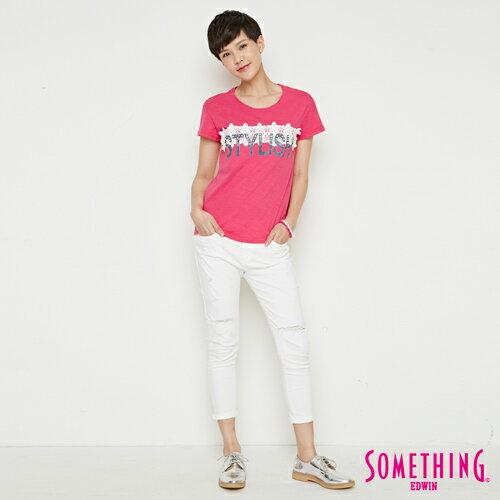 【週年慶。8折優惠↘】SOMETHING 布蕾絲釘珠 短袖T恤-女款 桃紅色 3