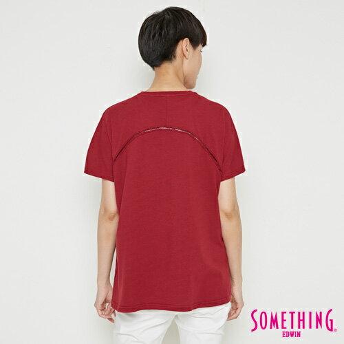 【週年慶。8折優惠↘】SOMETHING  復古印花 寬版T恤-女款 暗紅 1