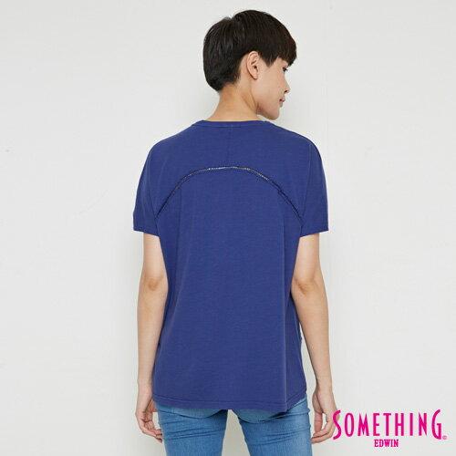 【週年慶。8折優惠↘】SOMETHING  復古印花 寬版T恤-女款 丈青 1