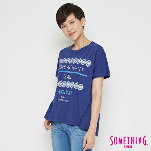 【週年慶。8折優惠↘】SOMETHING  復古印花 寬版T恤-女款 丈青 2