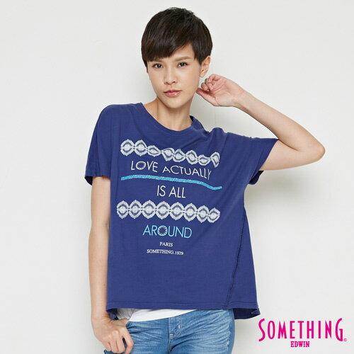 【週年慶。8折優惠↘】SOMETHING  復古印花 寬版T恤-女款 丈青 0