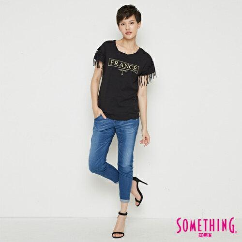 【週年慶。8折優惠↘】SOMETHING 都會流蘇 短袖T恤-女款 黑色 3