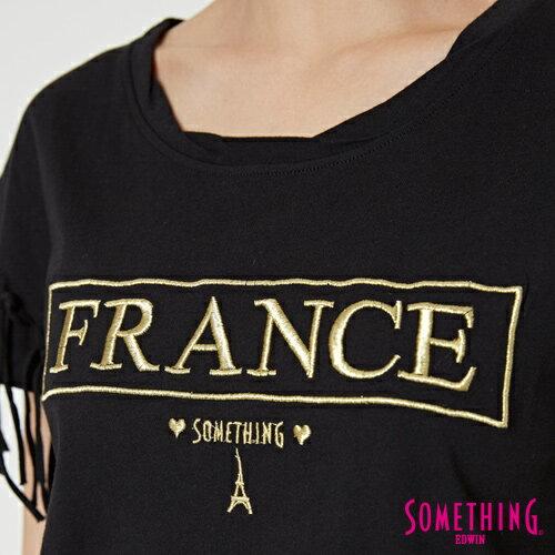 【週年慶。8折優惠↘】SOMETHING 都會流蘇 短袖T恤-女款 黑色 4