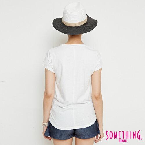 【週年慶。8折優惠↘】SOMETHING 基本LOGO標語 短袖T恤-女款 白色 1