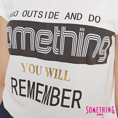 【週年慶。8折優惠↘】SOMETHING 基本LOGO標語 短袖T恤-女款 白色 3