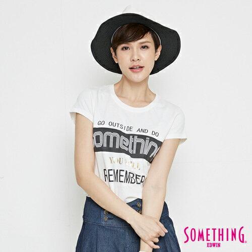 【週年慶。8折優惠↘】SOMETHING 基本LOGO標語 短袖T恤-女款 白色 0