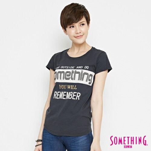 【週年慶。8折優惠↘】SOMETHING 基本LOGO標語 短袖T恤-女款 黑色 2