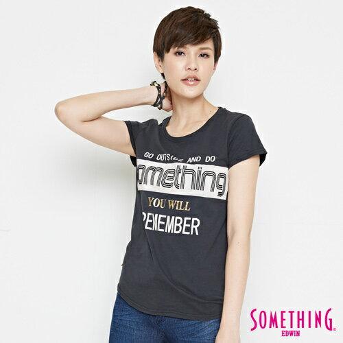 【週年慶。8折優惠↘】SOMETHING 基本LOGO標語 短袖T恤-女款 黑色 0