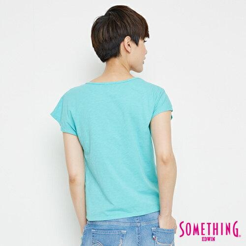 【9折優惠↘】SOMETHING 羽毛圖騰刺繡 連袖T恤-女款 淡藍色 1