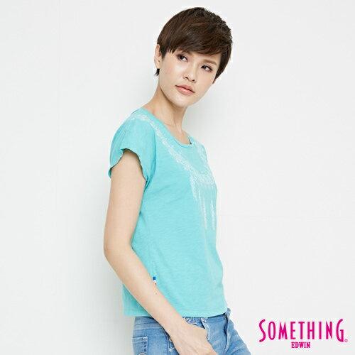 【9折優惠↘】SOMETHING 羽毛圖騰刺繡 連袖T恤-女款 淡藍色 2