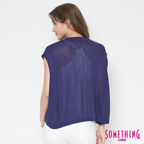 【週年慶。8折優惠↘】SOMETHING 輕鬆寬版 大挖袖線衫 -女款 紫藍 1