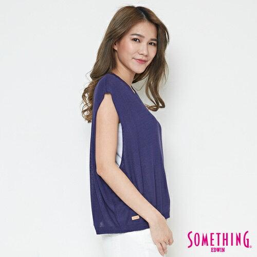 【週年慶。8折優惠↘】SOMETHING 輕鬆寬版 大挖袖線衫 -女款 紫藍 2