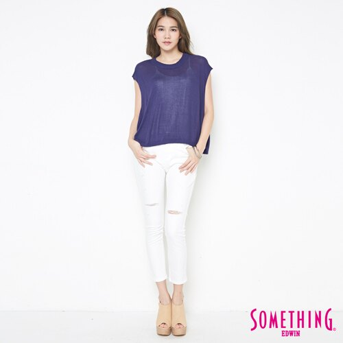 【週年慶。8折優惠↘】SOMETHING 輕鬆寬版 大挖袖線衫 -女款 紫藍 3