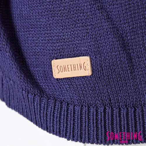【週年慶。8折優惠↘】SOMETHING 輕鬆寬版 大挖袖線衫 -女款 紫藍 5