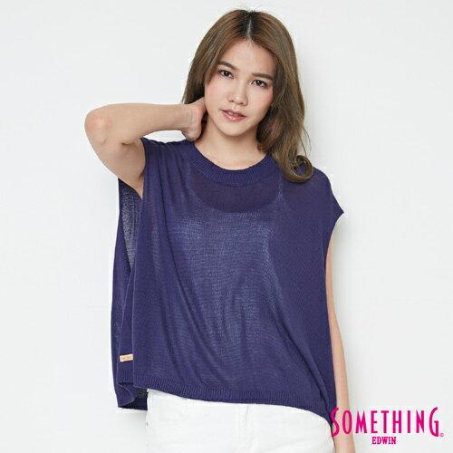 【週年慶。8折優惠↘】SOMETHING 輕鬆寬版 大挖袖線衫 -女款 紫藍 0
