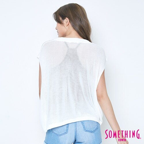 【週年慶。8折優惠↘】SOMETHING 輕鬆寬版 大挖袖線衫 -女款 白色 1