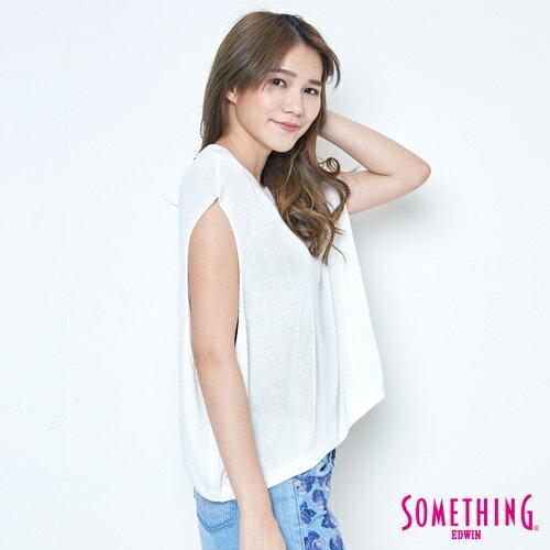 【週年慶。8折優惠↘】SOMETHING 輕鬆寬版 大挖袖線衫 -女款 白色 2