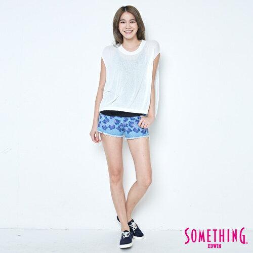 【週年慶。8折優惠↘】SOMETHING 輕鬆寬版 大挖袖線衫 -女款 白色 3