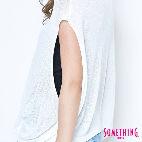 【週年慶。8折優惠↘】SOMETHING 輕鬆寬版 大挖袖線衫 -女款 白色 5