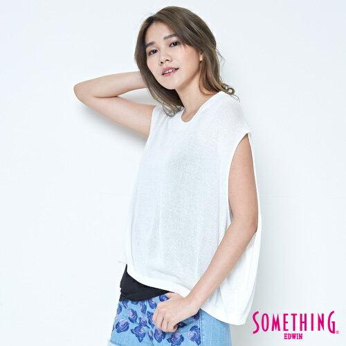 【週年慶。8折優惠↘】SOMETHING 輕鬆寬版 大挖袖線衫 -女款 白色 0