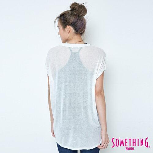 【週年慶。8折優惠↘】SOMETHING 幾何蔥印 優雅線衫 -女款 白色 1