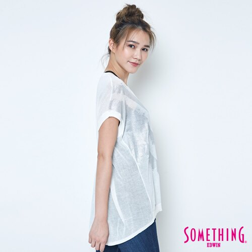【週年慶。8折優惠↘】SOMETHING 幾何蔥印 優雅線衫 -女款 白色 2