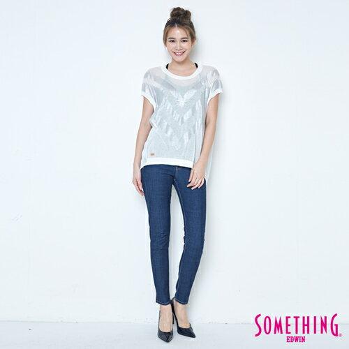 【週年慶。8折優惠↘】SOMETHING 幾何蔥印 優雅線衫 -女款 白色 3