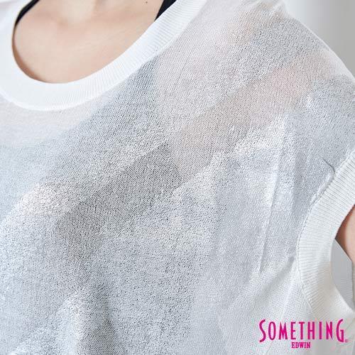 【週年慶。8折優惠↘】SOMETHING 幾何蔥印 優雅線衫 -女款 白色 4