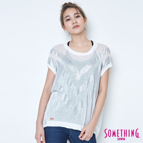 【週年慶。8折優惠↘】SOMETHING 幾何蔥印 優雅線衫 -女款 白色 0