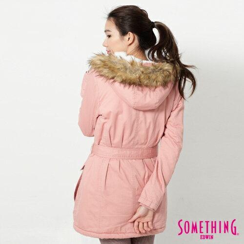 【網路限定款。5折優惠↘】SOMETHING 休閒俐落 毛領長版舖棉外套-女-粉紅 1