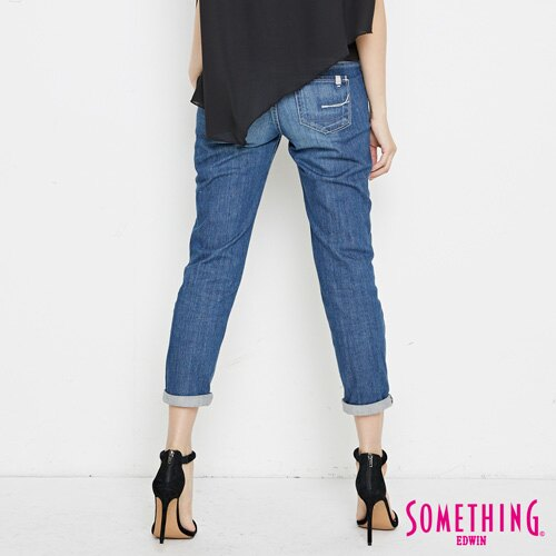 【9折優惠↘】SOMETHING NEO FIT基本 寬鬆八分褲 -女款 中古藍 1