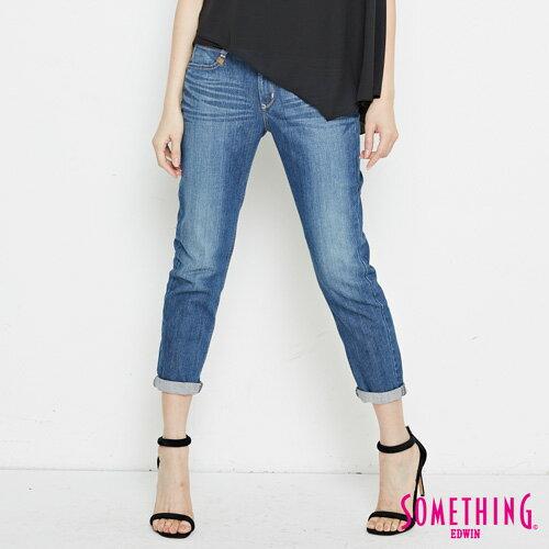 【9折優惠↘】SOMETHING NEO FIT基本 寬鬆八分褲 -女款 中古藍 0