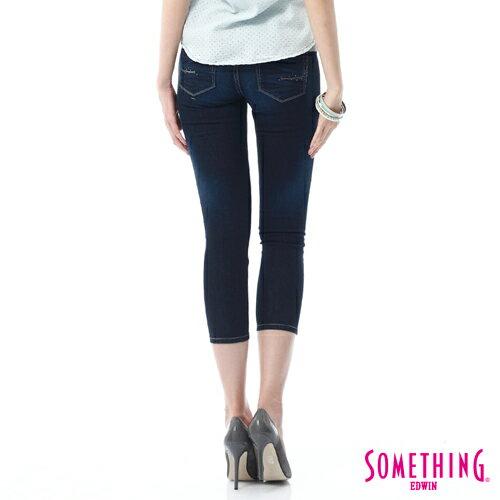 【9折優惠↘】SOMETHING NEO FIT鑽飾五袋七分褲 -女-原藍磨 1