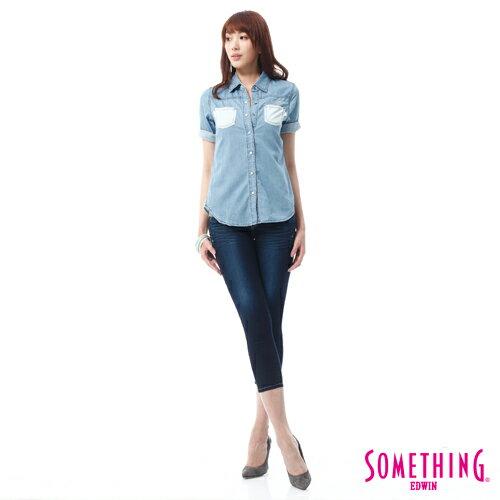 【9折優惠↘】SOMETHING NEO FIT鑽飾五袋七分褲 -女-原藍磨 2