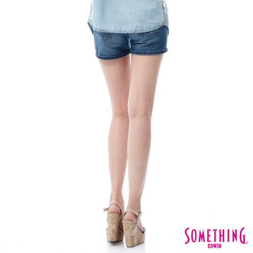 【9折優惠↘】SOMETHING NEO FIT鋸齒壓線牛仔短褲 -女款 拔洗藍 1
