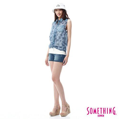 【9折優惠↘】SOMETHING NEO FIT鋸齒壓線牛仔短褲 -女款 拔洗藍 2