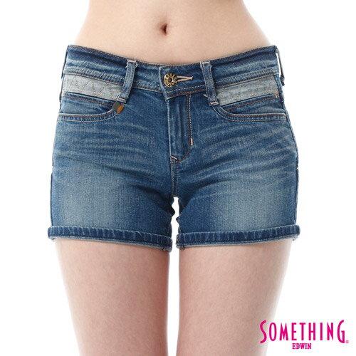 【9折優惠↘】SOMETHING NEO FIT鋸齒壓線牛仔短褲 -女款 拔洗藍 3