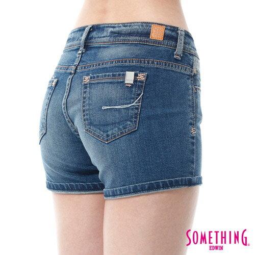 【9折優惠↘】SOMETHING NEO FIT鋸齒壓線牛仔短褲 -女款 拔洗藍 4